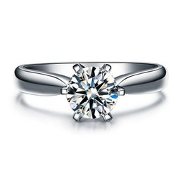 Wholesale Ct Heart - 925 Sterling Silver rings Hearts and Arrows 6 prong setting 1 Ct NSCD Simulated Diamond Engagement Wedding rings for women,Solitaire Ring