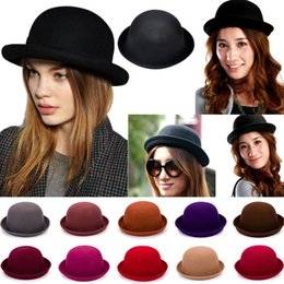 Wholesale Vintage Womens Derby Hats - High quality New Fashion Womens Lady Vogue Vintage Wool Cute Trendy Solid Bowler Derby Hat CAP