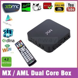 Wholesale Mx2 Google Tv - Stock MX2 MXQ Amlogic MX Android TV G BOX Midnight G-Box Media Player 1GB 8GB 5p