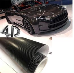 Wholesale 4d Carbon Fiber - 200mmX1520mm 4D Black Carbon Fiber Textured Vinyl with Bubble Free Air Release DIY Wrap Sheet Film Car Sticker Decal Car Styling