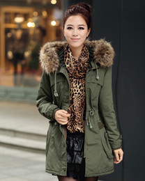 Wholesale Lambs Wool Padding - New thickening winter long coat leading green cotton-padded jacket cotton female han edition lambs wool winter jacket