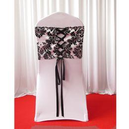 Wholesale Damask Sashes - 28cm*80cm White & Black Flocking Taffeta Chair Cover Sash With Tie Backs  Elegance Damask Corset Chair Sash