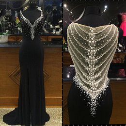 Wholesale Celebrities Black Dress Red Carpet - Beaded Prom Dressess Mermaid 2016 Deep V neck Sweep Train Pearls Celebrity Evening Gowns Red Carpet Dresses W6499