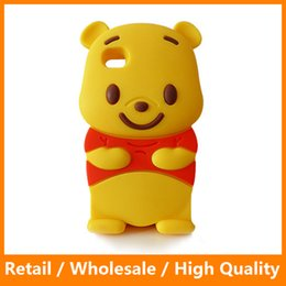 Wholesale Pooh Mobile - Lovely 3D Cute Cartoon Case for iPhone4 5 6 6s 6Plus 6sPlus Winnie Pooh Mobile Phone Cover Protector Phone Bags