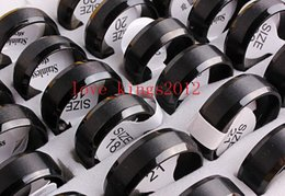Wholesale Ring Size 17 - Wholesale Lots 36Pcs Black 316L Titanium Ring Plain Simple Band Wedding 17-21MM