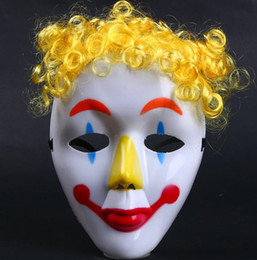 Wholesale Halloween Party Wigs - Jester Jolly Mask Dance party COS Clown mask kids children Hallowmas Venetian mask masquerade full face masks wig hairpiece Festive Supplies