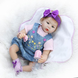 Wholesale vinyl clothes - Wholesale- Reborn Baby Doll Soft Silicone 22inch 55cm Magnetic Mouth Lifelike Newborn Baby Dolls Jeans Strap Clothing Girl Doll