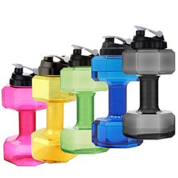 Wholesale Bikes Direct - Dropshiping 2.2 L Dumbbells Shaped Plastic Big Large Capacity Gym Sports Water Bottle Outdoor Fitness Bicycle Bike Camping Cycling Kettle
