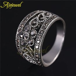 Wholesale Vintage Retro Ring Silver - FG Size 6-9 Fashion Jewelry New Arrival Silver Plated Black CZ Flower Vintage Retro Ring Women