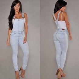 Wholesale Jeans Rompers For Women - Wholesale- 2017 Spring Fashion Denim Overalls For Women Rompers Womens Jumpsuit Strap Siamese Jeans Woman Full Length Casual Denim