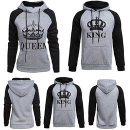 Wholesale Love Matching Clothes - Wholesale- NEW FASHION KING AND QUEEN HOODIES VALENTINE NEW MULTI COLORS MATCHING CUTE LOVE COUPLES SPORT CLOTHES RUNNING CLOTHES