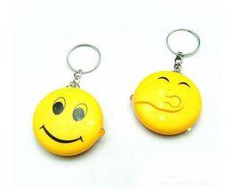 Wholesale Smiley Face Led Light - NEW Hot Cartoon Game movie Key smiley world smiley face led light keychain wedding favors keychain cc126