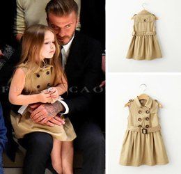 Wholesale Double Breast Girl Dress - Children girl pleated dresses Tench coats baby party double-breasted belt brown ball gown kids spring autumn winter clothing gift