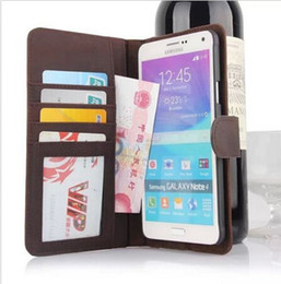 Wholesale S4 Book - 2015 New Retro Book Genuine Leather Card Wallet Case Cover For Samsung Note 3 4 S5 S4
