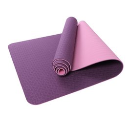Wholesale Customized Fitness - wholesale TPE Yoga Mat 183*61*0.6cm Double Color 6MM Green Anti Slip Fitness Yoga Mat Customized
