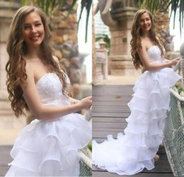 Wholesale Chiffon High Low Ball Gowns - 2016 Spring Summer Sweetheart High Low Wedding Dresses Sexy Lace Beaded Chiffon Tiered Beach Bridal Gowns Backless Wedding Gowns