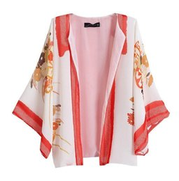 Wholesale Loose Batwing China - Plus Size Women Kimono Tops Nice Europe Brand New Female Long Sleeves Flowers Printed Loose Cardigan Blouse cheap clothes china