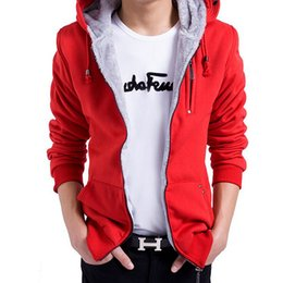 Wholesale Mens Korean Cotton Jackets - Autumn and winter Korean men hoodie Mens Jacket Sweatshirt Slim Casual Zipper Pullover Long Sleeve Top Hoodies With Hat