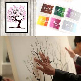 Wholesale Party Guest Books - Wholesale-Many Styles Wedding Fingerprint Tree Signature Guest Book + 24 Colors Ink Pad Set for Wedding Party Graduation Painting Size S L