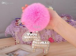 Wholesale Fox Horse - Promotion One Piece Rhineston PU Leather Horse With Fox Fur Ball Charms For Handbag 2015 Cute Bags Hanger Bag Accessories