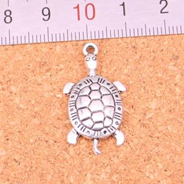 silver plate turtle charms wholesale Australia - 100pcs Antique silver Charms tortoise turtle sea Pendant Fit Bracelets Necklace DIY Metal Jewelry Making 30*15mm
