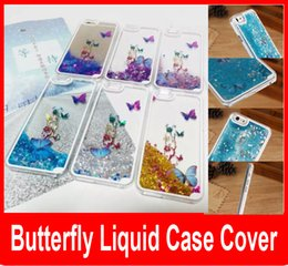 Wholesale Iphone 5s 3d Bling Case - Colorful Butterfly Stars Liquid Glitter Quicksand 3D Bling Phone Case Cover For Apple Iphone 6 Plus 5 5S Shining Star Liquid Case