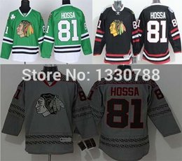 Wholesale Blackhawk Full - Cheap Chicago Blackhawk Jerseys #81 Marian Hossa 2014 Black Stadium Series 2015 Gray Cross Check Fashion Green Blackhawks Jersey