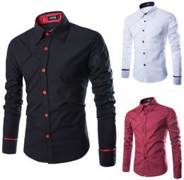 Wholesale Trendy Red Dresses - Wholesale-New Mens 2016 Famous Designer Solid Stripe Comfortable Trendy Stylish Male Dress Shirt 3 Colors 5 Size M-XXXL Chemise Homme cs14