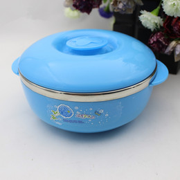 Wholesale Stainless Steel Food Container Wholesale - thermal insulation colorful stainless steel bowl rice bowls double layer scald-proof food container with cover free shipping