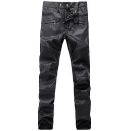 Wholesale Black Leather Pants Sale - 2016 TOP Mens Jeans new sales European and American style leather pants influx of men Slim Straight men washed soft leather motorcycle pants