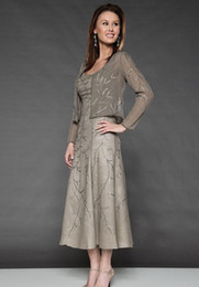 Wholesale Elegant Jackets For Wedding - Elegant Embroidery Mother Of The Bride Dresses Beaded Scoop Neckline Tea-Length Occasion Dress With Jacket For Wedding