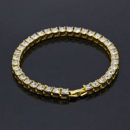 Wholesale Chain Circle - Mens hip hop jewelry single row of rhinestones bracelets European and American style crystal hiphop chain bracelets accessories
