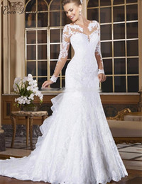 Wholesale Vintage Beaded Dress Size 14 - C.V Long Sleeve Appliques Beaded Mermaid Wedding Dress Illusion Sheer Neck Lace Style Fish Tail Bridal Wedding Gown W0004
