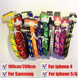 Wholesale I Phone Noodle Cable Charger - Hot USB Charger usb cable line for i phone 4 i phone 5 I phone 6 samsung Android mobile phone 2015 Dual color Noodle braid cable DHL Free