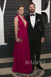 Wholesale Sexy After Dresses - 2016 88th Oscar Celebrity Dresses Olivia Wilde After Party Sexy Fushcia Plunging V Neck Evening Dress Halter Chiffon Backless Prom Gowns