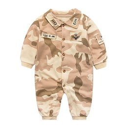 Wholesale girls size outerwear - Baby Rompers Summer 2017 Baby Outerwear Newborn Girls Boy Clothing Pajamas Military Jumpsuit Baby Costume Toddler Girl Clothing