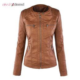 Wholesale European Jacket Women - Wholesale- AKSLXDMMD Plus Size 7XL Leather Jacket Women 2017 New European American Hat Detachable Long Sleeve Zipper Leather Jackets LH373