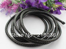 Wholesale Leather Meter Jewelry - Wholesale 10 Meters of 8mm Black Weave Bolo Leather Cord For Bracelet Necklaces DIY Making Jewelry Findings Accessories M1717