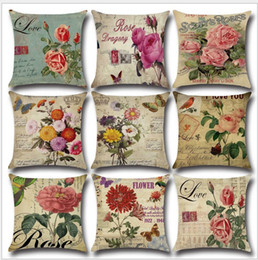 Wholesale flower sofas - New Pillowcase Countryside Romantic Rose Flower Linen Printed Throw Pillow Case Cushion Cover Pillow Sofa Pillowcase Soft Car Office Decor