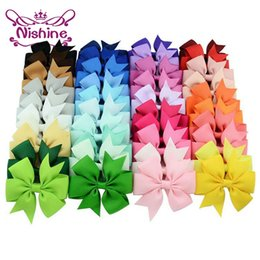 Wholesale Metal Alligator Hair Clips Wholesale - Nishine 3 inch Girls Ribbon Bow Clips Girl Hairpins Alligator Metal Hair Bows Clip Headwear Girl Hairbows Hair Accessories