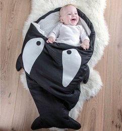 Wholesale Used Baby Beds - 2016 Newborns Baby Shark Sleeping Bag children Spring Winter Used On Strollers Bed Swaddle Cartoon Blanket Wrap 7 colors choose Cute Bedding