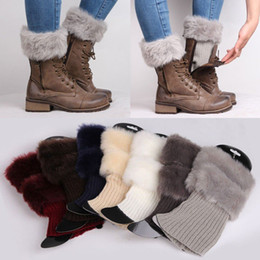Wholesale Womens Black Boot Socks - Womens Leg Warmers Women Winter Warm Knitted Boot Cuff Fur Trim Knit Toppers Boot Socks Leg Warmers