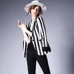 Wholesale Ladies Office Suits One Button - New Spring Stripe Slim Women Black and White Coat Casual Women Jacket Long Sleeves One Button Suit Ladies Work Wear office
