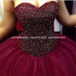 Wholesale Teen Sweet Sexy - 2016 Sweetheart Lace up Beads Quinceanera Dresses 2015 Birthday Party Masquerade Winter Ball Dance Prom Gowns For Sweet 16 Teens Girls Cheap