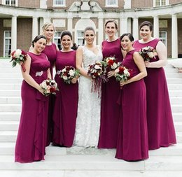 Wholesale Modern Junior Bridesmaid Dresses - Modern Elegant Grape Bridesmaid Dresses A-line Floor Length Romantic Chiffon Prom Dress Plus Size Maid of Honor Dress Special Occasion