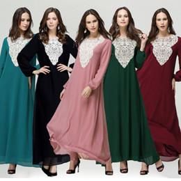 Wholesale Abaya Embroidered - 2015 Embroidered Pakistani dress lace Muslim Maxi Dress Abaya Islamic Chiffon Long sleeve Dress one piece Elegant dress S749L
