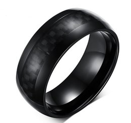 Wholesale Carbon Fiber Ring Wedding Band - Pop High Polished IP Black Plating High Grade 316L Stainless Steel Carbon Fiber Material Men's Band Ring Hot selling US 7-12#
