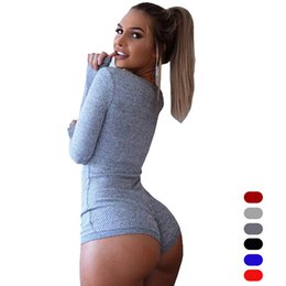 Wholesale Hot Long Dresses Women - Wholesale-Hot Sale Sexy Fashion Mini Women Dress Long Sleeve Knitted Buttons V-Neck Pure Color Tight Hot Dresses 7 Colors S-3XL