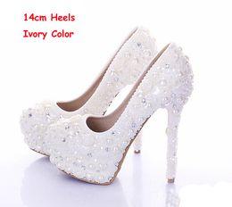 chaussures habillées couleur ivoire Promotion Nouveau Diamant Chaussures De Mariage Couleur Ivoire Perle Robe De Mariée Chaussures