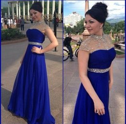 Wholesale Empire Line Dress Blue - 2015 Elegant Royal Blue A Line Chiffon Evening Dresses High Collar Beaded Rhinestones Prom Dresses Party Gowns Formal Dresses